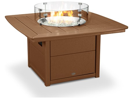 POLYWOOD® Nautical Recycled Plastic 42''Wide Square Fire Pit Table