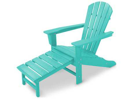 POLYWOOD® South Beach Recycled Plastic Adirondack Arm Chair with Hideaway Ottoman PatioLiving