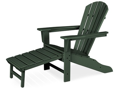 POLYWOOD® South Beach Recycled Plastic Adirondack Arm Chair with Hideaway Ottoman
