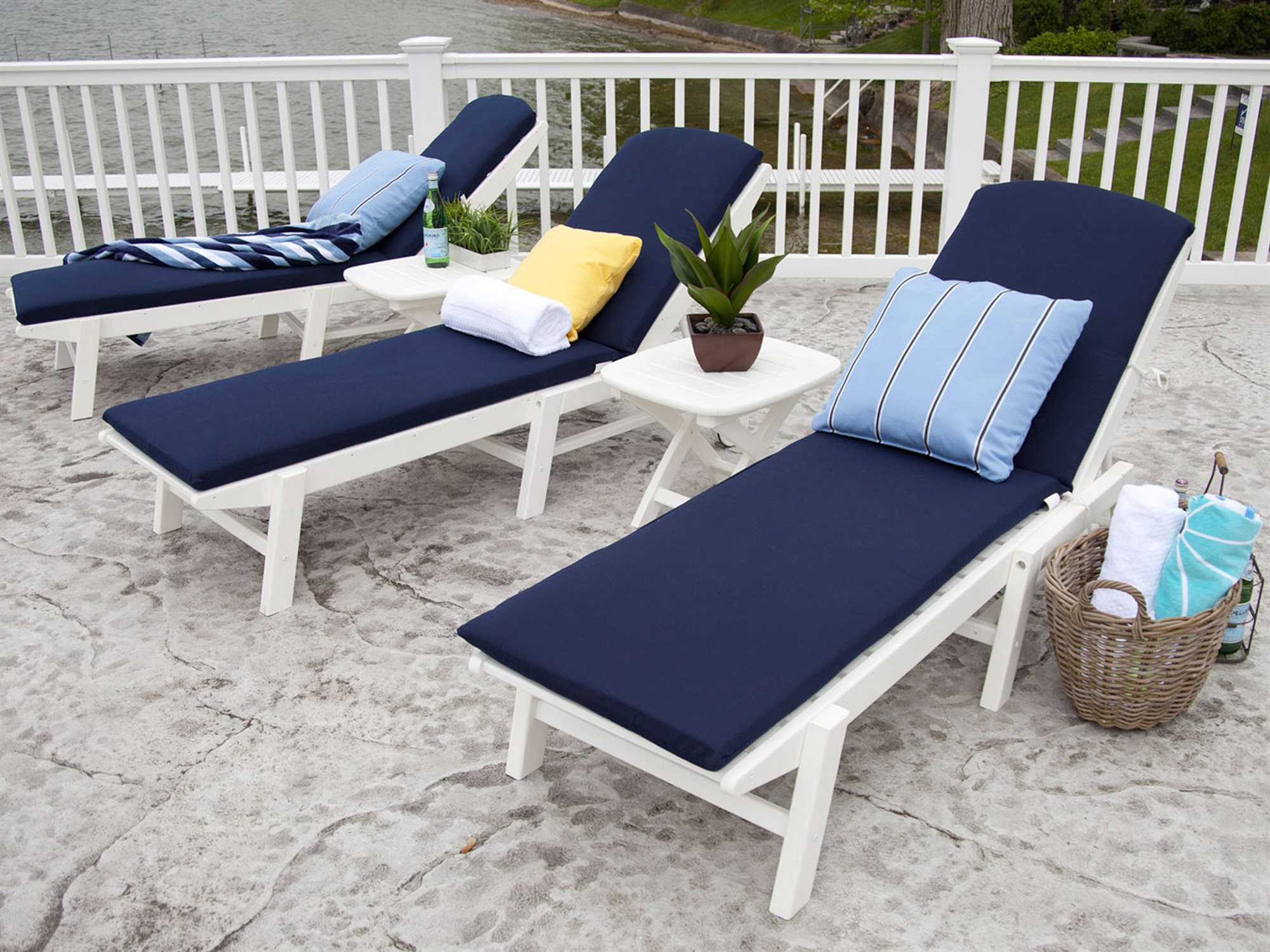 Polywood 174 Nautical Recycled Plastic Stackable Chaise