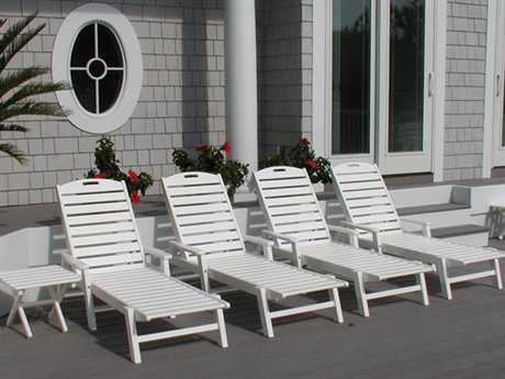 POLYWOOD® Nautical Recycled Plastic Chaise Lounge Set