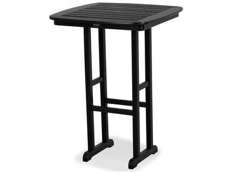 POLYWOOD® Nautical Recycled Plastic 31''Wide Square Bar Height Table with Umbrella Hole