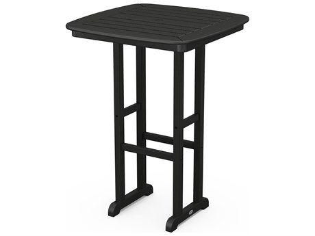 POLYWOOD® Nautical Recycled Plastic 31'' Wide Square Bar Height Table with Umbrella Hole