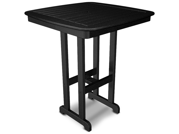 POLYWOOD® Nautical Recycled Plastic 37''Wide Square Bar Table PatioLiving