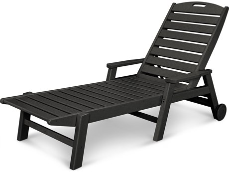 POLYWOOD® Nautical Recycled Plastic Stackable Chaise Lounge with Wheels