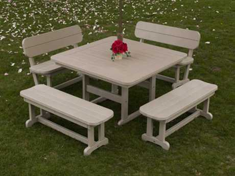 POLYWOOD® Park Recycled Plastic Bench Dining Set
