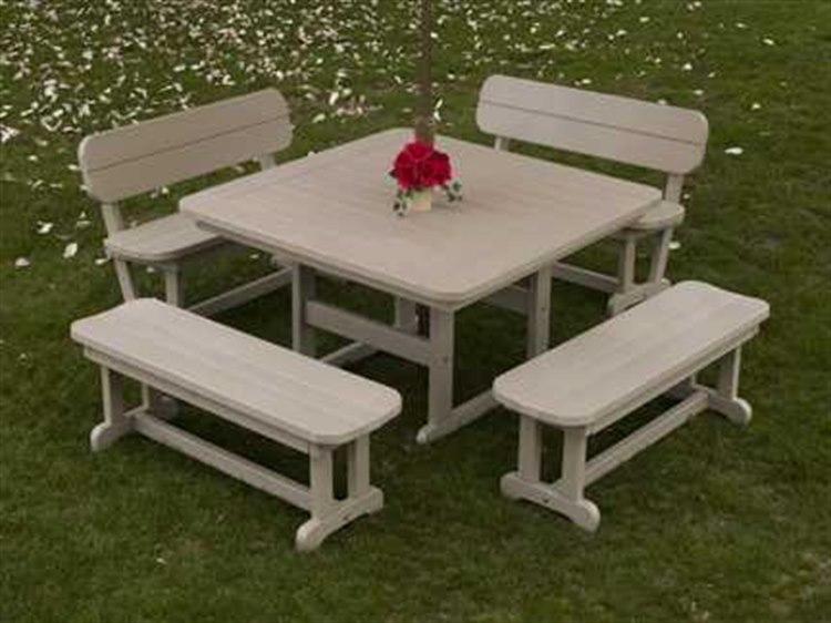 Incredible Polywood Park Recycled Plastic Bench Dining Set Frankydiablos Diy Chair Ideas Frankydiabloscom