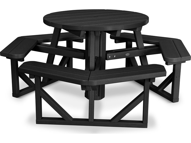Polywood Park Recycled Plastic 36 Wide Round Picnic Table