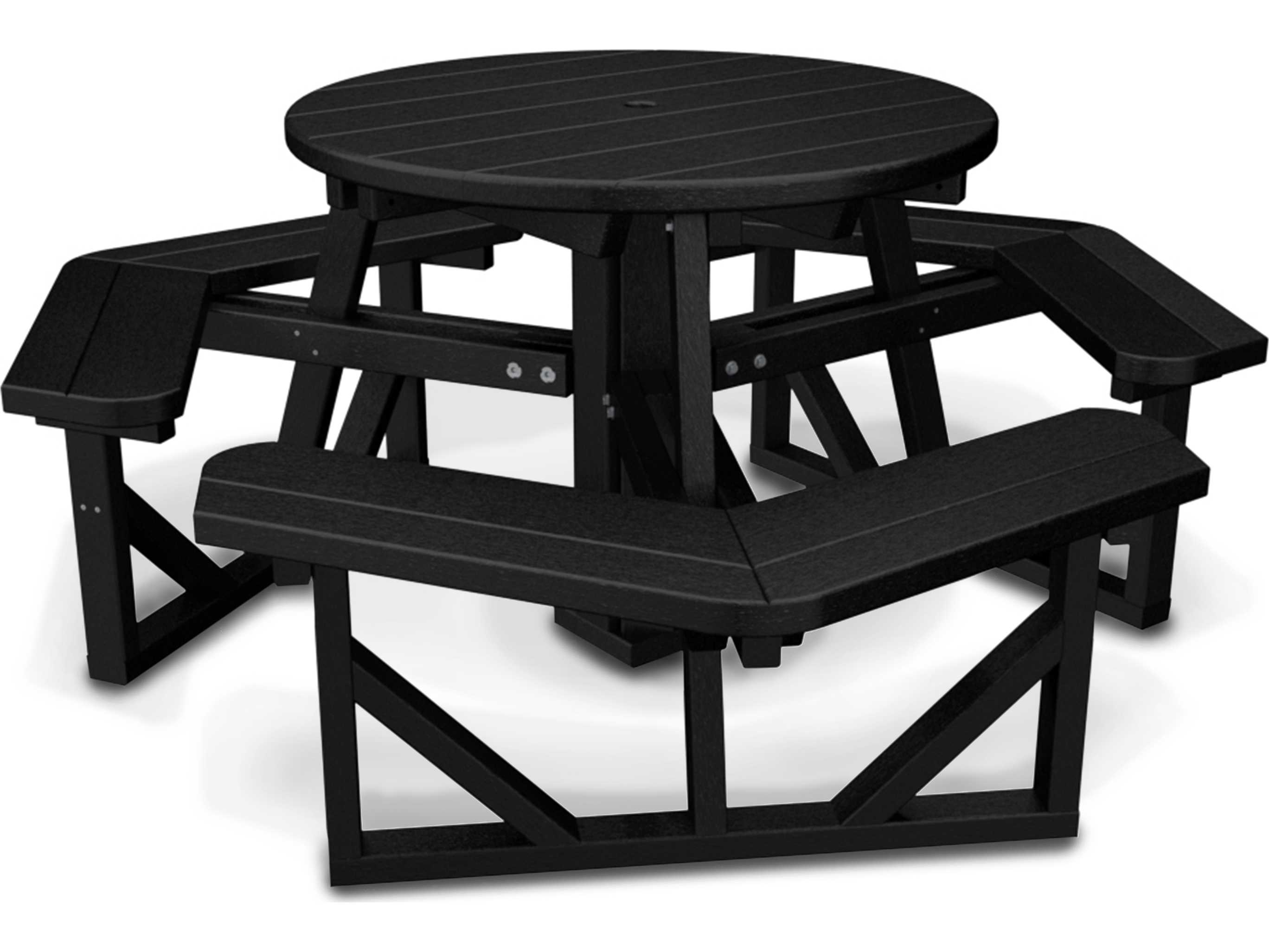 polywood park recycled plastic 36 round picnic table ph36. Black Bedroom Furniture Sets. Home Design Ideas