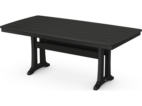 POLYWOOD® Nautical Recycled Plastic 73D x 38W Rectangular Dining Table with Umbrella Hole