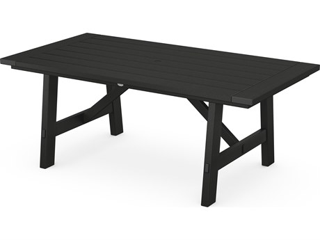 POLYWOOD® Rustic Farmhouse Recycled Trestle 75''W x 39''D Rectangular Dining Table with Umbrella Hole