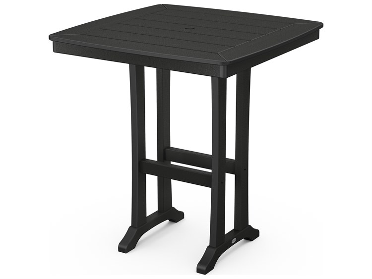 POLYWOOD® Nautical Farmhouse Recycled Trestle 37''Wide Square Bar Table PatioLiving