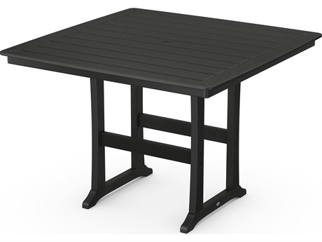 POLYWOOD® Nautical Recycled Plastic Trestle 59''Wide Square Bar Table
