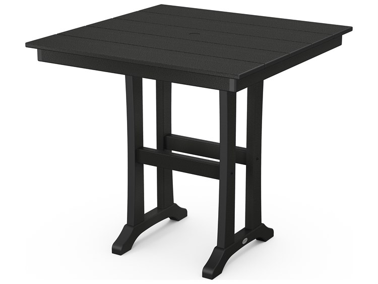 POLYWOOD® Farmhouse Recycled Plastic 37''Wide Square Counter Table PatioLiving