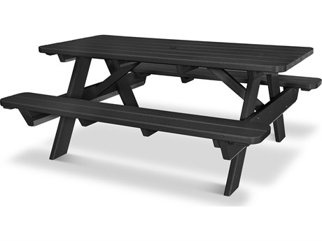 POLYWOOD® Park Recycled Plastic 72''W x 6D Rectangular Picnic Table with Umbrella Hole
