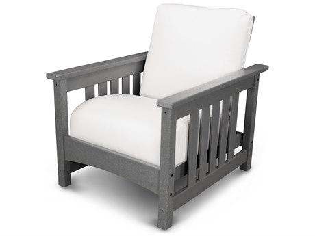 POLYWOOD® Mission Black Recycled Plastic Chair with Sunbrella Bird's Eye Cushion