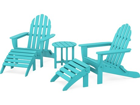 POLYWOOD® Classic Adirondack Recycled Plastic 5-Piece Lounge Set PatioLiving