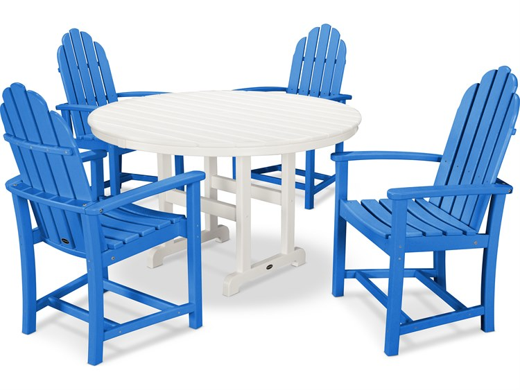 POLYWOOD® Classic Adirondack Recycled Plastic Dining 5-Piece Dining Set PatioLiving