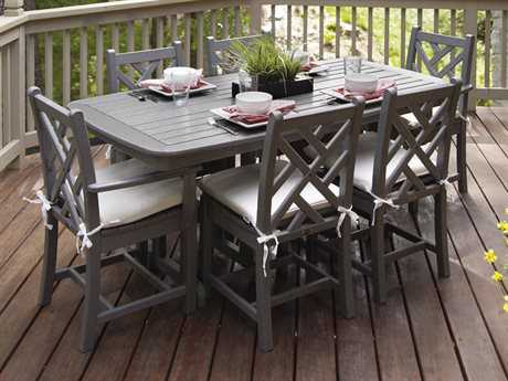POLYWOOD® Chippendale Recycled Plastic 7-Piece Dining Set w/ Cushions
