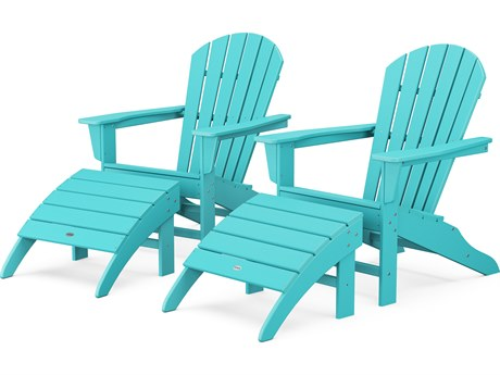POLYWOOD® South Beach Recycled Plastic 4-Piece Adirondack Lounge Set