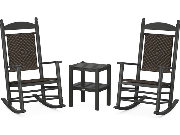POLYWOOD® Jefferson Recycled Plastic 3-Piece Woven Rocker Lounge Set PatioLiving