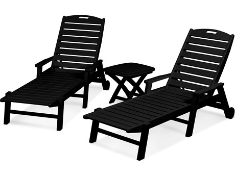 POLYWOOD® Nautical Recycled Plastic 3-Piece Chaise Lounge Set
