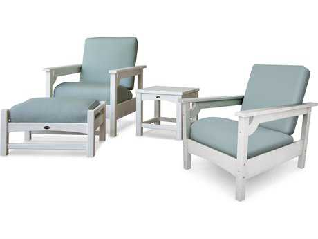 POLYWOOD® Club White Recycled Plastic 4-Piece Deep Seating Set with Sunbrella Spa Cushion
