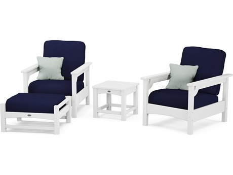 POLYWOOD® Club White Recycled Plastic 4-Piece Deep Seating Lounge Set