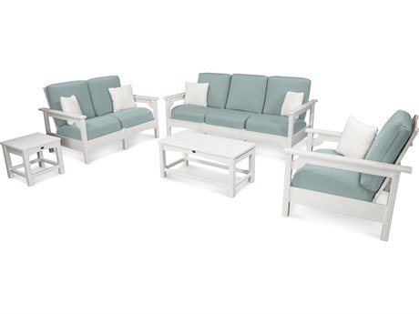 POLYWOOD® Club White Recycled Plastic 5-Piece Deep Seating Lounge Set