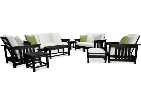 POLYWOOD® Mission Black 8-Piece Deep Seating Group with Sunbrella Bird's Eye Cushion