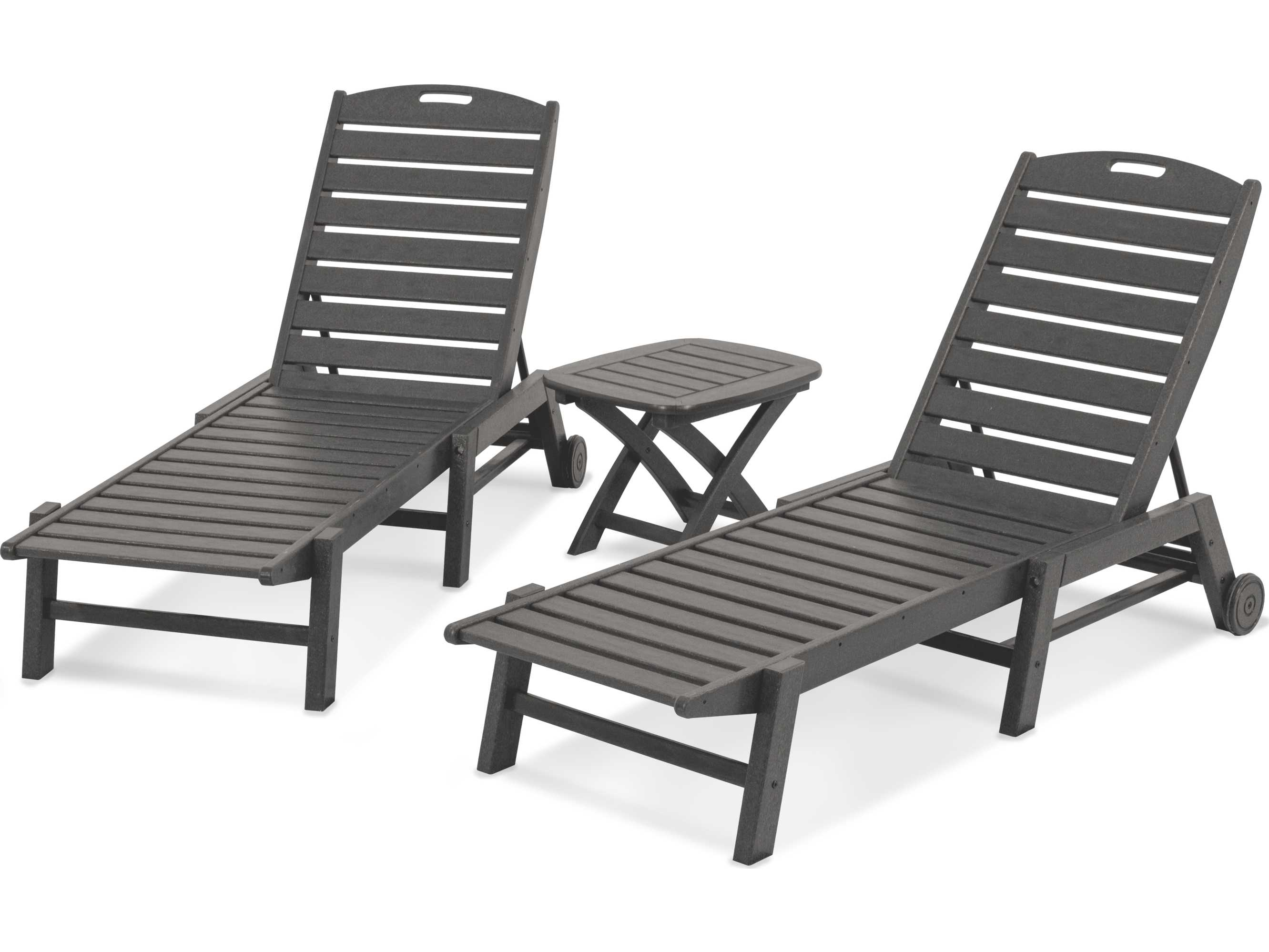 polywood nautical recycled plastic 3 piece chaise set. Black Bedroom Furniture Sets. Home Design Ideas