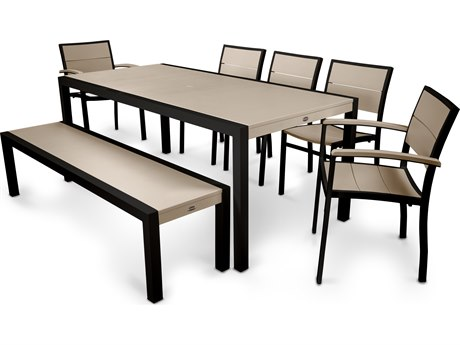 POLYWOOD® Metro Aluminum 7 Piece Dining Set PatioLiving