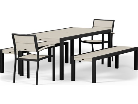 POLYWOOD® Metro Textured Black Aluminum 5-Piece Dining Set with Sand Recycled Plastic