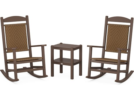 POLYWOOD® Presidential Mahogany Recycled Plastic Rocker 3-Piece Set with Tigerwood Weave