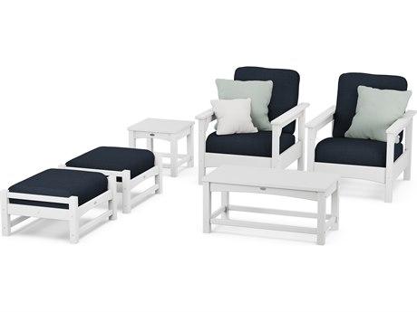POLYWOOD® Club Black Recycled Plastic Deep Seating w/ Cushions 6-Piece Set with Sunbrella Bird's Eye Cushion