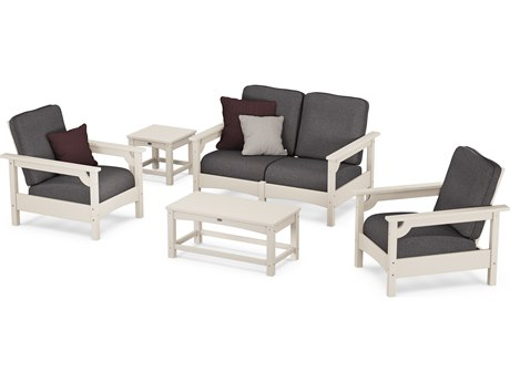 POLYWOOD® Club Black Recycled Plastic 5 Piece Depp Seating Lounge Set