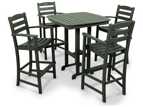 POLYWOOD® La Casa Cafe Recycled Plastic 5-Piece Bar Set PatioLiving