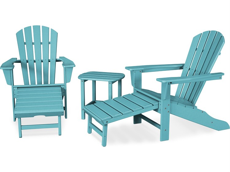 POLYWOOD® South Beach Recycled Plastic 3-Piece Ultimate Adirondack Lounge Set PatioLiving