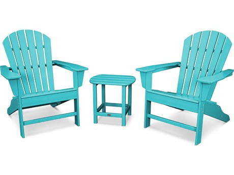 POLYWOOD® South Beach Recycled Plastic 3 Piece Adirondack Lounge Set