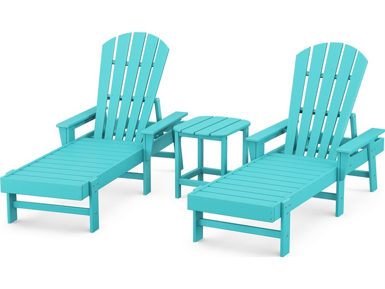 POLYWOOD® South Beach Recycled Plastic 3-Piece Lounge Set PatioLiving