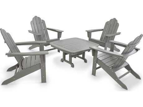 POLYWOOD® Long Island Recycled Plastic Adirondack 5-Piece Lounge Set
