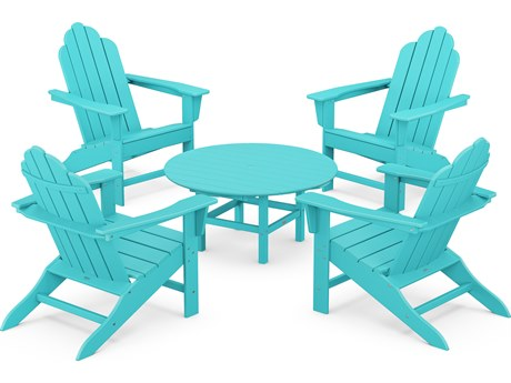 POLYWOOD® Long Island Recycled Plastic Adirondack 5-Piece Conversation Group PatioLiving