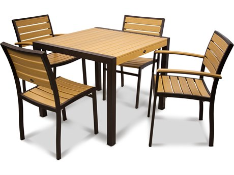 POLYWOOD® Euro Plastique Recycled Plastic 5-Piece Dining Set