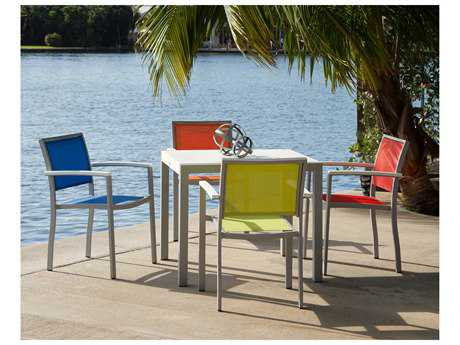 POLYWOOD® Bayline Satin White Aluminum 5-Piece Dining Set with White Arms & Poolside Sling