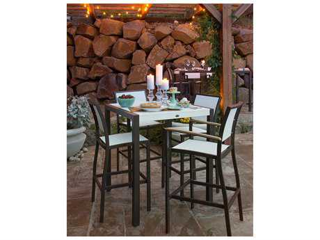 POLYWOOD® Bayline Satin White Aluminum 5-Piece Bar Set with White Arms & Poolside Sling