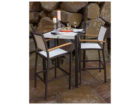 POLYWOOD® Bayline Satin White Aluminum 3-Piece Bar Set with White Arms & Poolside Sling