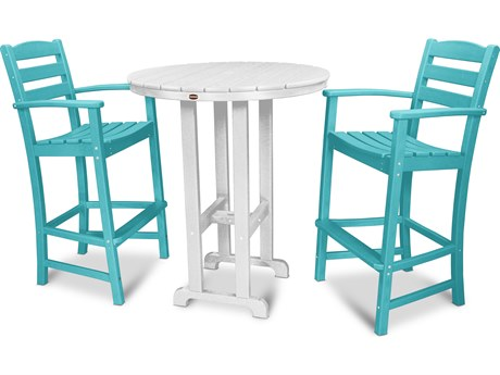 POLYWOOD® La Casa Cafe Recycled Plastic 3 Piece Bar Set PatioLiving