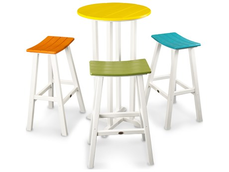 POLYWOOD® Contempo Recycled Plastic 4-Piece Saddle Bar Stool Set