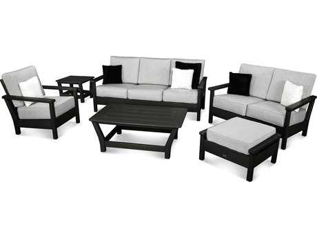 POLYWOOD® Harbour Recycled Plastic 6-Piece Outdoor Living Set with Pillows
