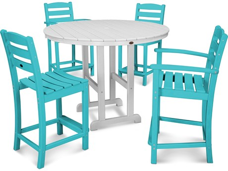 POLYWOOD® La Casa Cafe Recycled Plastic 5 Piece Dining Set PatioLiving